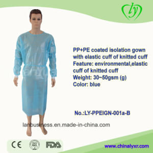 Disposable High Quality PP+PE Coated Isolation Gown pictures & photos