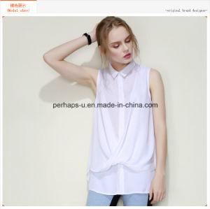 Fashion White Sleeveless Polo Neck Women Shirt pictures & photos