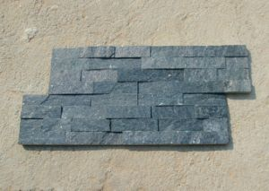 Natural Wall Cladding Stacked Panel Black Slate Tile pictures & photos
