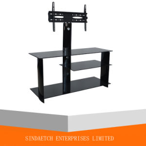 Tempered Glass TV Stand with Swivel TV Bracket pictures & photos