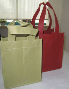 Cheap Non Woven 2 Wine Handle Bags pictures & photos