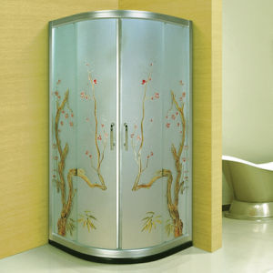 Beauty Manual Carving Art Glass Bathroom Shower Cabin (A-093) pictures & photos