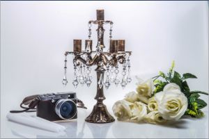 Bronze Clolor Wedding Decoration Glass Candle Holder with Five Poster pictures & photos