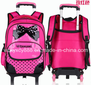 PU Children Trolley Wheeled Double Shoulder Students Backpack Bag (CY3521) pictures & photos