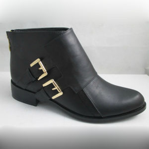 Double Buckle PU Lady Flat Ankle Boot