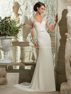 V-Line Long Sleeve Brial Gown See Through Lace Wedding Dress pictures & photos