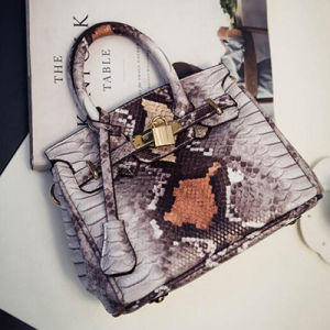 Fashion Designer Brand Snake Skin PU Leather Handbags Tote Bag Sy7553 pictures & photos