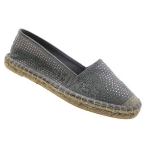 Grey Rhinestone Espadrille for Women