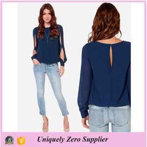 2016 New Design Long Split Sleeve Comfortable Chiffon Blouse pictures & photos