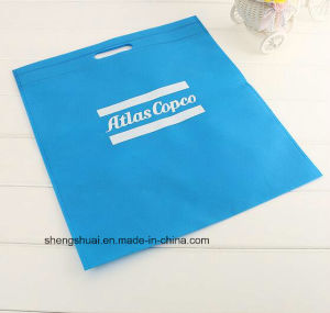 Blue Color Silk Screen Printing Shopping Tote Bag for Supermarket