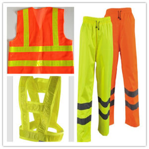 Red Safety Vest with Yellow Reflective Tape pictures & photos
