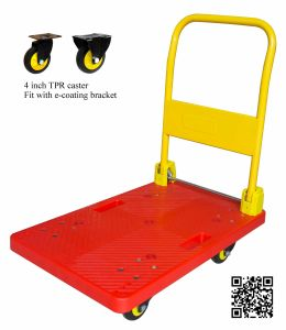 200kg Red Platform Hand Truck with TPR Wheels Noiseless Trolley pictures & photos