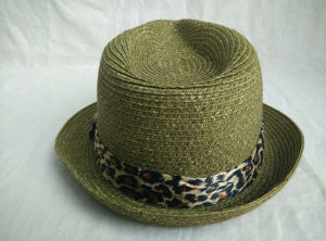 Paper Braid Sewn Braid Leopard Print Band Fedora Straw Hat pictures & photos