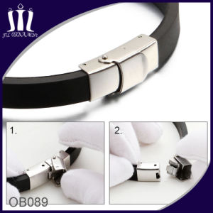 Silicone Bracelet with 2 Tone Stainless Steel ID Tag for Men pictures & photos
