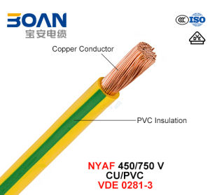 Nyaf, Electric Wire, 450/750 V, Class 5 Cu/PVC (VDE 0281-3) pictures & photos