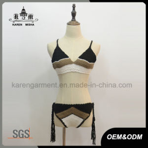 Ladies Festival Striped Crochet Swimming Costume pictures & photos