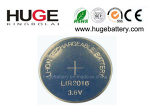 3.6V Lithium Rechargeable Button Cell Lir2016 pictures & photos