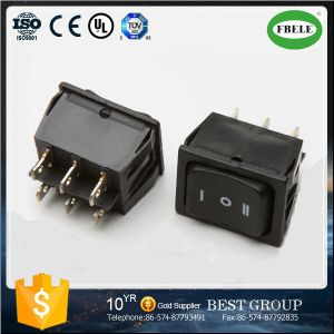 (ON) -off- (ON) 35A 12VDC; 20A 125VAC Dpdt 6p Double-Poles Rocker Switch, Automotive Switch, Mini Switch, Small Switch, Rocker Switch pictures & photos