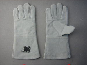 Grey Cow Split Leather Welding Work Glove pictures & photos