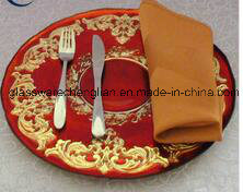 Hot Sale Hotel&Restaurant Round Red Glass Plates (B-PC012) pictures & photos