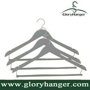 High Quality Gray Wood Suit/Pant Hanger with Locking Bar pictures & photos