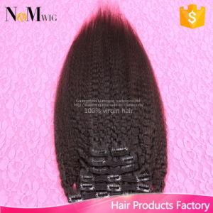 Italian Yaki Clip in Human Hair Extension Natural Hair Pieces (QB-CLI-ST) pictures & photos