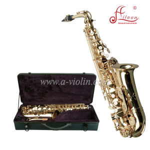 Professional High F# Golden Lacquer Eb Key Alto Saxophone pictures & photos
