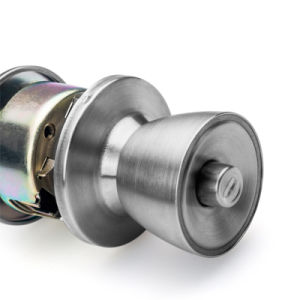 Commercial Cylindrical Keyed Entry Ball Knob Door Lock in Satin Nickel pictures & photos