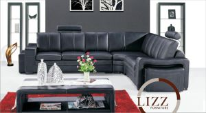 Black and Good Price Leather Sofa pictures & photos