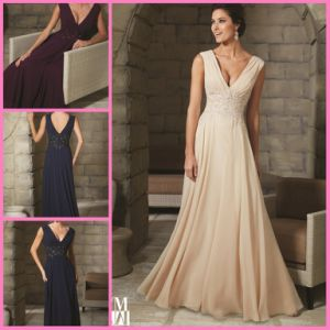 A-Line Chiffon Party Prom Pageant Dresses V-Neck Mother′s Evening Dresses M71208 pictures & photos