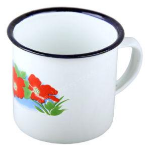 Blue Rimmed Plain Enamel Decal Enamel Mug Cup pictures & photos