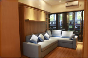 Vertical Tilting Bedroom Folding Wall Bed with Sofa and Cabinet pictures & photos