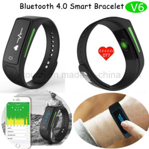 Bluetooth Smart Bracelet with OLED Screen and Heart Rate Monitor (V6) pictures & photos