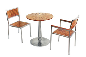 Round Teak Wood Stainless Steel Patio Table