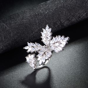 New Design Wholesale Manufacturer Flower Open Cuff Rings Jewelry pictures & photos