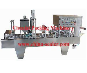Auto Yogurt Cup Filling and Sealing Machine pictures & photos