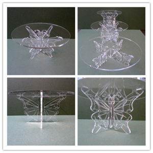 Butterfly Acrylic Wedding Party Cake Display Stand/Acrylic Exhibition Stand pictures & photos