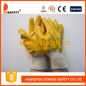 Ddsafety 2017 Cotton Gloves Yellow Nitrile Fully Coated pictures & photos