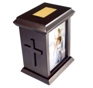 Solid Wooden Human Urn with Cross pictures & photos