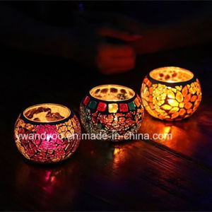 Colorful Mosaic Glass Tealight Candle Holder