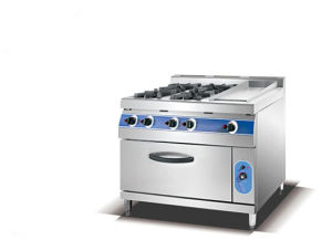 Stainless Steel 4-Burner Gas Rrange with Gas Griddle/ Oven (HGR-76) pictures & photos