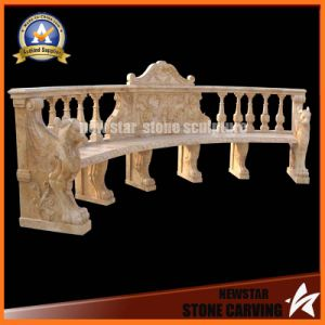 Yellow Marble Stone Carving Bench for Garden Decoration (NS-11B2) pictures & photos