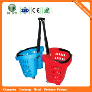 Best Selling Plastic Shopping Basket with Wheels (JS-SBN07) pictures & photos