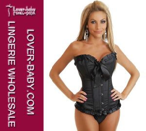 Classy Black Sexy Corset with G-String for Lady (L4056-2) pictures & photos