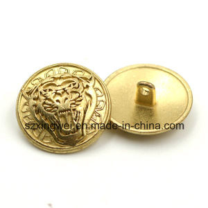 Metal Zinc Alloy Shank Button with Tiger Head Logo pictures & photos