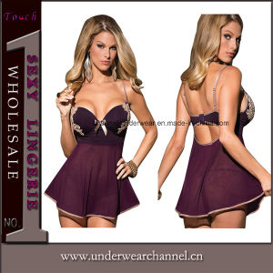 Purple Sexy Women Seamless Transparent Fantasy Baby Doll Lingerie pictures & photos