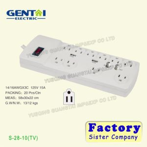 Surge Protector Us Plug Multi Extension Cord Power Socket pictures & photos