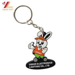 Adorable Rabbit Custom Logo 3D Soft PVC Animal Keychain for Christmas Promotion Gift pictures & photos