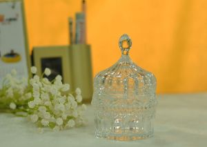 Small Glass Candy Jar with Glass Lid pictures & photos