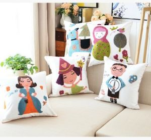 Cotton Canvas Wool Embroidery Decoration Cushion Cover Pillow Case Flower Design Carton Style pictures & photos